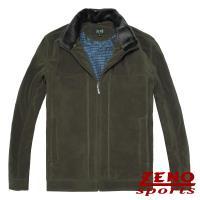 ZENO傑諾 設計款紡絨條紋保暖外套‧綠色M~3L