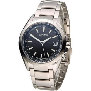 星辰 CITIZEN 五局電波光動能鈦金屬腕錶 CB1070-56E 黑