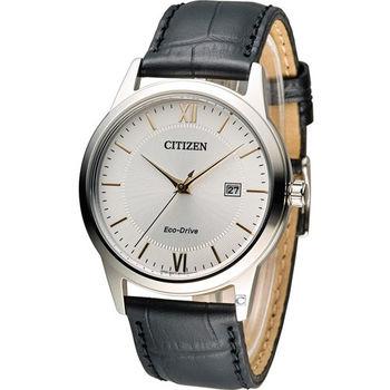 星辰 CITIZEN 光動能復古休閒經典腕錶 AW1236-11A 銀