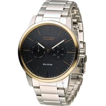 星辰 CITIZEN Eco Drive 光動能穩重風範時尚腕錶 AO9044-51E 黑x玫瑰金色