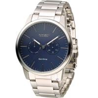 星辰 CITIZEN Eco Drive 光動能穩重風範時尚腕錶 AO9040-52L 藍