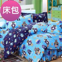 【Novaya諾曼亞】《怪打機器人》絲光綿特大雙人三件式床包組(藍)
