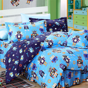 Novaya諾曼亞 怪打機器人絲光綿雙人四件式鋪棉兩用被床包組(藍)