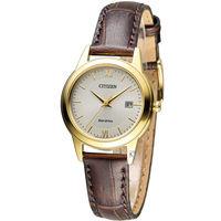星辰 CITIZEN 光動能復古典雅經典腕錶 FE1082-13A 金色