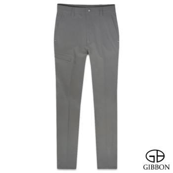 GIBBON 四面彈力保暖吸排格紋長褲‧麻灰色30~40