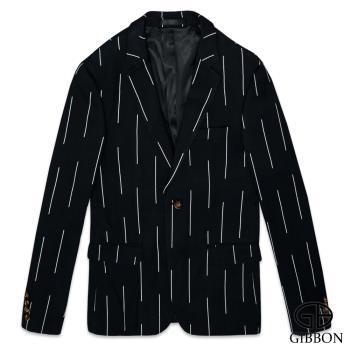 GIBBON 韓版型男修身西裝外套‧條紋黑46~50