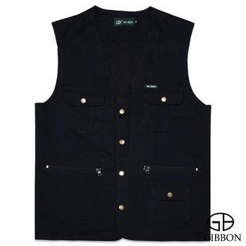 GIBBON 經典樂活素色多口袋背心‧黑藍L~4L