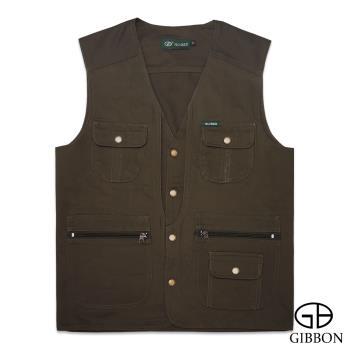 GIBBON 經典樂活素色多口袋背心‧橄欖綠