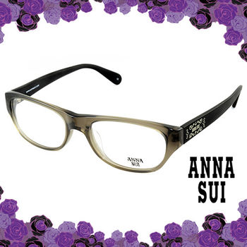 Anna Sui 安娜蘇 祕密花園logo霧面鏡腳造型眼鏡(黑灰色) AS508997
