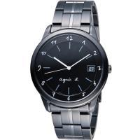 agnes b 蜥蜴圖騰簡約時尚腕錶 VJ52-00A0SD 黑