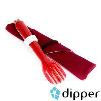 dipper 3合1紫檀木環保餐具組(莓果紅叉/陶瓷湯匙)