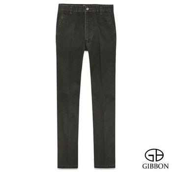 GIBBON 休閒彈力純色直筒褲‧橄欖綠30~42