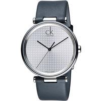 CK Calvin Klein Gents視覺系立體格文時尚腕錶 K1S21120 白