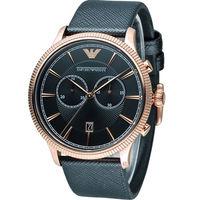 EMPORIO ARMANI 經典時尚男錶 AR1792 黑x玫瑰金色