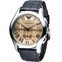 EMPORIO ARMANI Classic 羅馬假期計時腕錶 AR1785 咖啡色