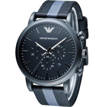 MPORIO ARMANI Classic 英倫簡約風計時腕錶 AR1948黑 AR1949藍