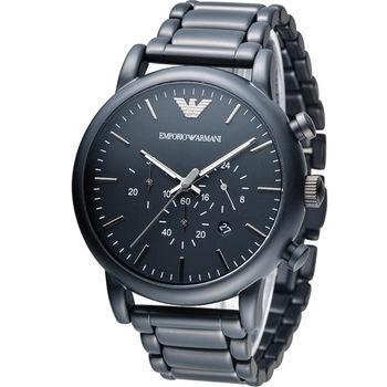 EMPORIO ARMANI Classic 英倫簡約風計時腕錶 AR1895 黑