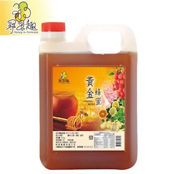 【尋蜜趣】嚴選黃金蜂蜜3000g/桶-家庭號包裝-贈黃金蜂蜜380g