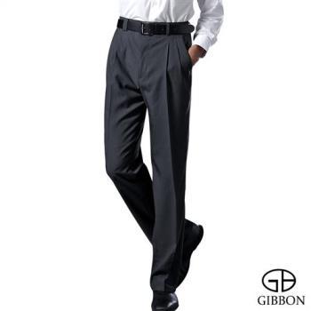 GIBBON 涼爽條紋打摺西裝褲‧黑灰31~42