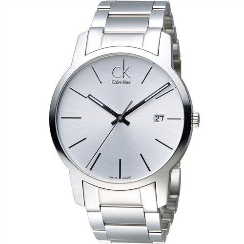 CK Calvin Klein 經典簡約石英腕錶 K2G2G146 銀白