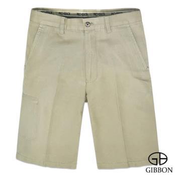 GIBBON 舒適純棉橫紋休閒短褲‧淺卡其30~42