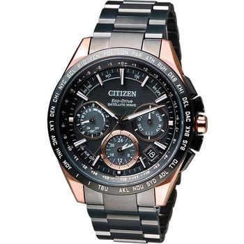 星辰 CITIZEN 光動能【鈦】衛星計時腕錶 CC9016-51E 黑x玫瑰金色