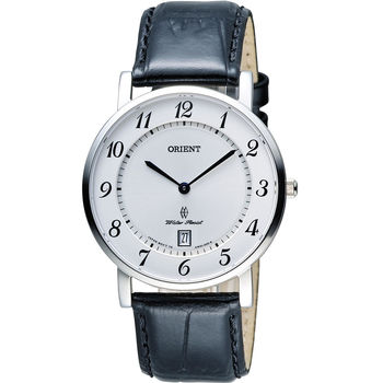 ORIENT 東方錶 SLIM系列 超薄簡約優雅石英錶 FGW0100JW 皮帶款 白色