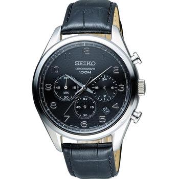SEIKO CS系列 實力精英時尚腕錶 8T63-00C0D  黑皮 SSB231P1