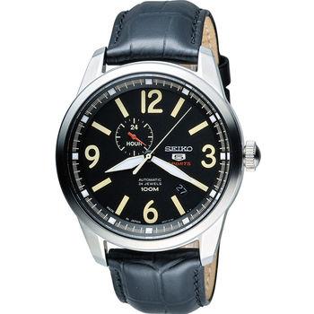 SEIKO 精工 經典五號盾牌軍用風格機械錶 4R37-01D0L 黑  SSA297J1
