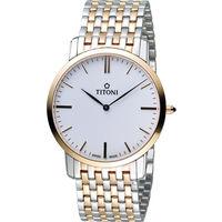 TITONI Slenderline 梅花錶超薄紳士腕錶 TQ52918SRG-583 雙色款