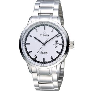 TITONI Airmaster 空霸Day-Date機械腕錶 83733S-559 銀