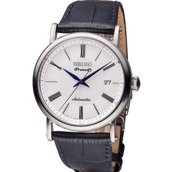 SEIKO 精工 Premier 超薄系列機械腕錶 4R35-01C0P 黑皮 SRPA17J2