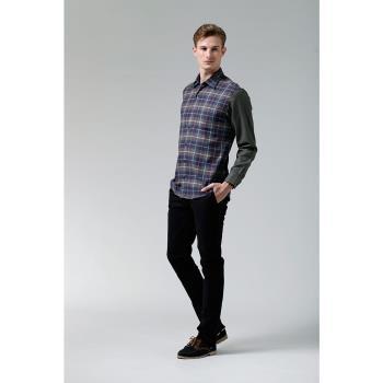【ROBERTA諾貝達】台灣製 合身版 經典格紋羊毛長袖厚襯衫 紫灰