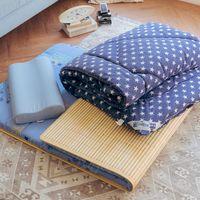 【米夢家居】台灣製造-涼爽桂竹熱烘棉單人床墊+記憶枕+防蹣抗菌暖暖被(藍)外宿熱賣三件組