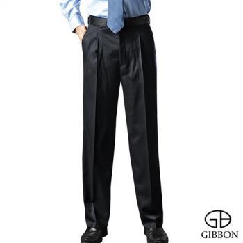 GIBBON 保暖刷毛素面打摺西裝褲‧暗藍31-42