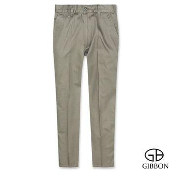 GIBBON 輕薄棉質條紋平口休閒長褲‧褐色31-42