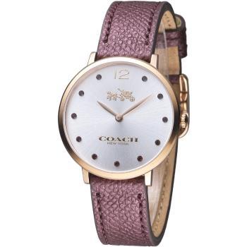 COACH 原色簡約晶鑽女錶-咖啡色(14502694)