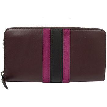 COACH 57463 質感全皮革壓紋撞色條紋拉鍊長夾.暗紫紅