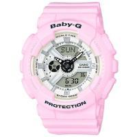 【CASIO】 BABY-G 舒芙蕾春色雙顯膠帶電子錶-櫻花粉 (BA-110BE-4A)