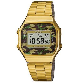 【CASIO】 復古方型全金綠迷彩數位電子錶 (A-168WEGC-3)