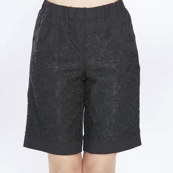蘭陵時尚款蕾絲拼接五分褲組