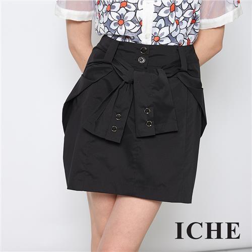 ICHE 衣哲 假兩件襯衫綁式感拼接百搭造型短裙