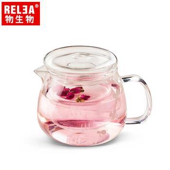 香港RELEA物生物 500ml小花耐熱玻璃泡茶壺(附濾茶器)