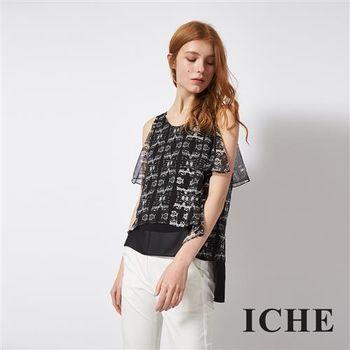 ICHE 衣哲 飄逸輕時尚多層次不規則拼接造型上衣