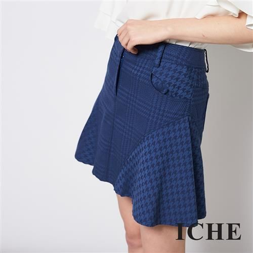 ICHE 衣哲 時尚千鳥格紋拼接荷葉魚尾造型短裙