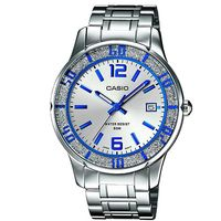【CASIO】潮流晶采女仕鋼帶腕錶-銀X藍 (LTP-1359D-7A)