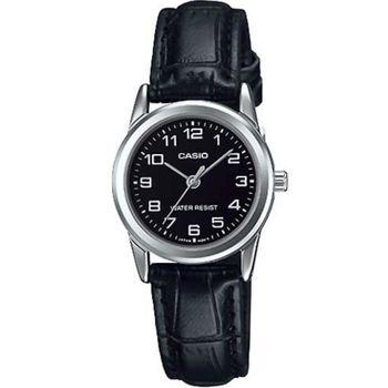 【CASIO】時尚休閒女仕皮帶腕錶-數字黑面 (LTP-V001L-1B)