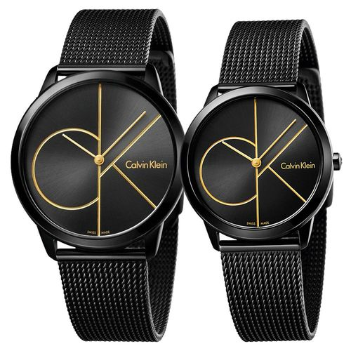 Calvin Klein CK Minimal 經典大LOGO黑金對錶 K3M214X1 K3M224X1