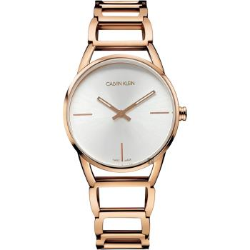 Calvin Klein CK Stately時尚鏤空手環腕錶-銀x玫瑰金/33mm K3G23626