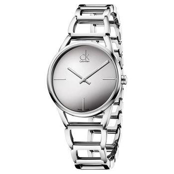 Calvin Klein CK Stately時尚鏤空手環腕錶-銀/33mm K3G23128